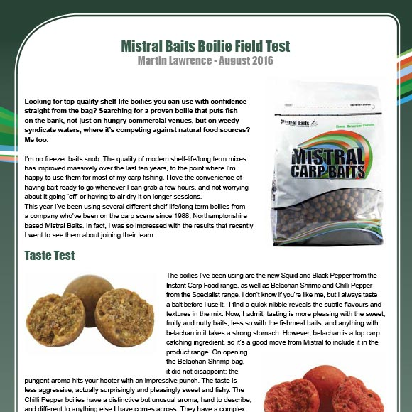Mistral Baits Boilie Field Test